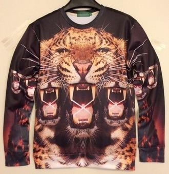 shirt tiger black crewneck animal face print