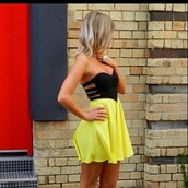 yellow dress,black top,corset top,dress,yellow,neon,bustier,pinterest,prom,strapless dress,tumblr,clothes,black and yellow
