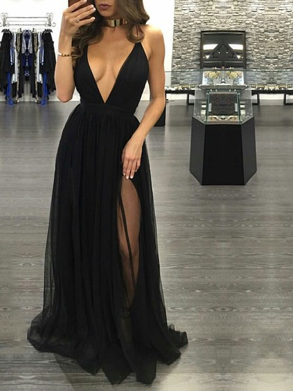 Perfect Hot A Line V Neck Tulle Floor Length Split Front Black Backless Prom Dresses    Dressesofgirl.com