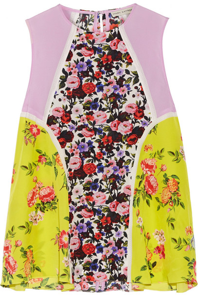 MARY KATRANTZOU top floral print silk pink
