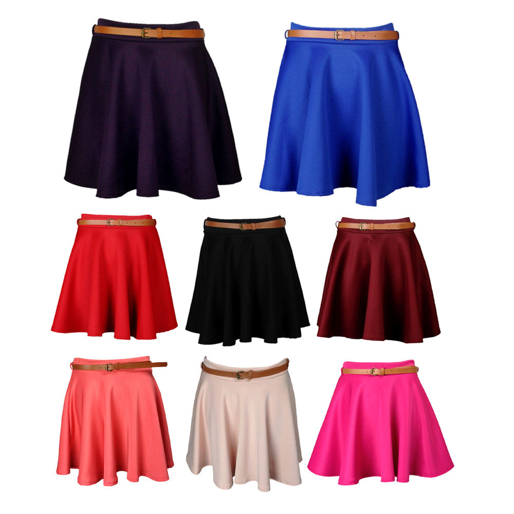 New Womens Black Purple Red Blue Wine Pink Coral Nude Belted Skater Skirt 8 14 | eBay
