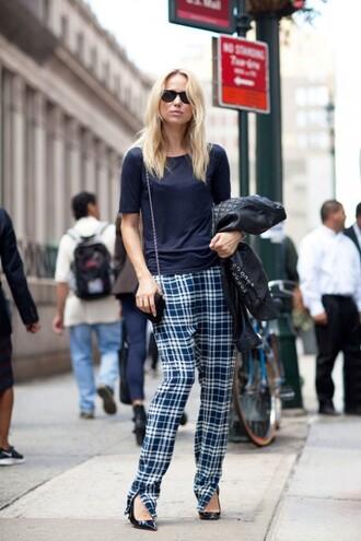 pants black sunglasses plaid pants plaid pumps streetstyle top blue top sunglasses