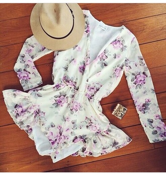 gloves jumpsuit floral shorts long sleeves hat style outfit