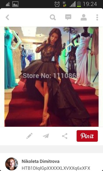 dress black dress lace prom dress volume long sleeves