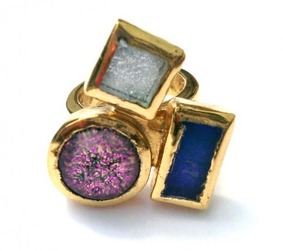 multi-colored jewels gold ring hand jewelry
