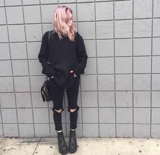 jeans black jeans oversized sweater little black boots sweater shoes