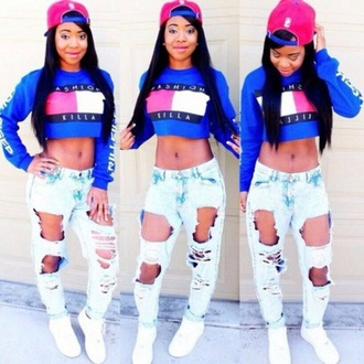 sweater blue crop tops long sleeves fashion style trendy casual comfy sportswear sporty musheng