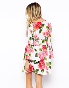 ASOS | ASOS Reclaimed Vintage Dress With Flute Sleeve In Rose Print at ASOS