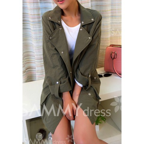 Buttons embellished pockets long sections cotton solid color trench coat for women (army green,one size)