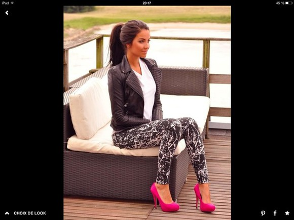 black jacket perfecto spiked leather jacket white t-shirt leggings delavé pink high heels