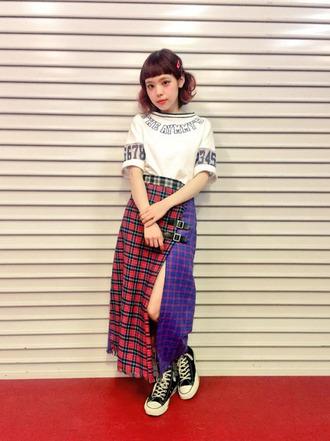 skirt shirt plaid plaid skirt red blue white black converse shoes kawaii kawaii grunge soft grunge grunge kawaii girl japan japanese fashion japanese