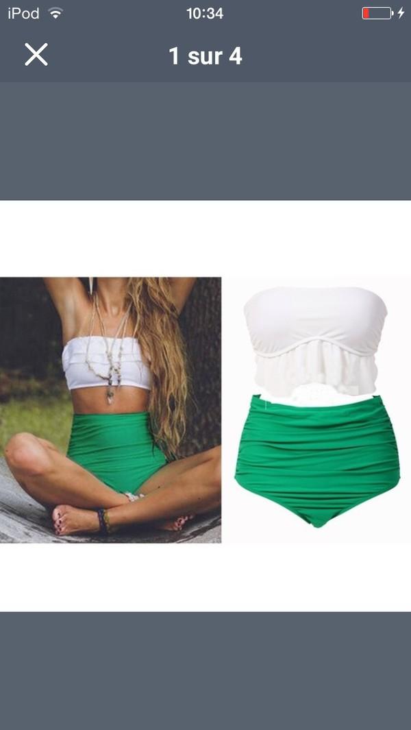 2015 femmes r tro taille haute bikini ensemble bandeau volant top cropped maillots de bain. Black Bedroom Furniture Sets. Home Design Ideas