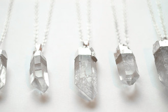 jewels crystal necklace stones jewelery silver white crystal quartz jewelry gemstone mineral necklace summer modern