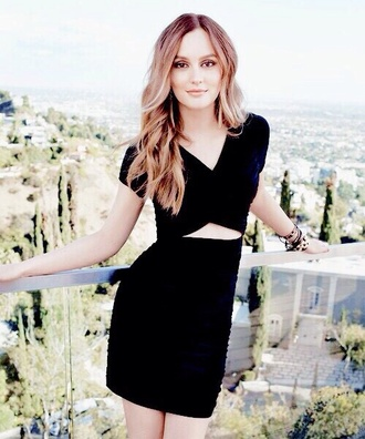 dress black dress cut-out leighton meester