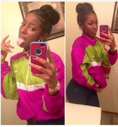 jacket,nike,pink,green,neon,windbreaker,top,coat,sweater,cute,pullover,adidas,stripes,color block jacket,watch,india westbrooks
