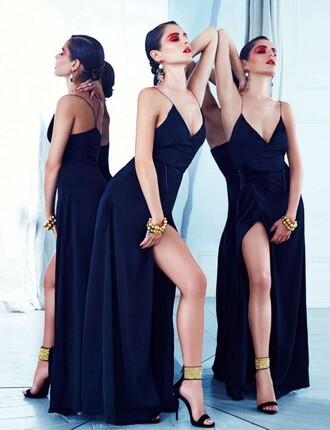 dress slit dress cheryl cole sandals sandal heels earrings gown prom dress bracelets maxi dress v neck dress long dress