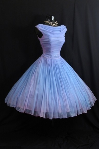 dress audrey hepburn blue dress 1950s vintage chiffon powder blue