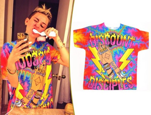 shirt miley cyrus t-shirt бренд discount diciples mens large miley cyrus. colorful gorgeous cool blouse red white back blue green