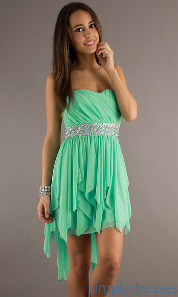 t-shirt mint dress strapless