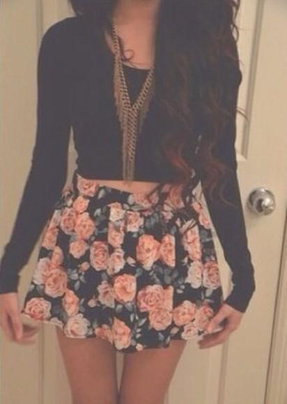black skirt floral skirt pink flowers pink and black flower skirt