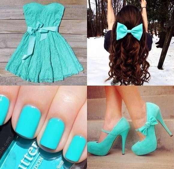 hair bow dress aqua cute high heels