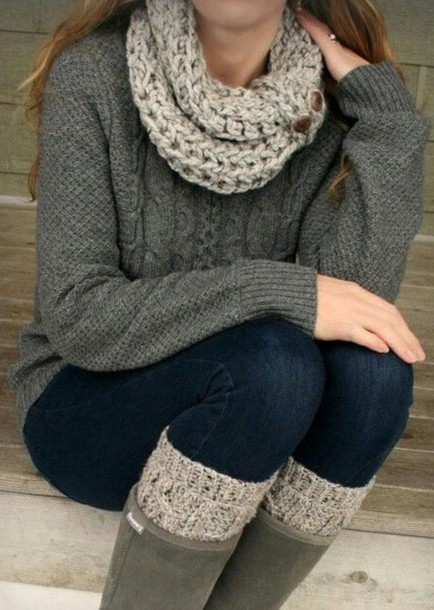 scarf winter outfits socks