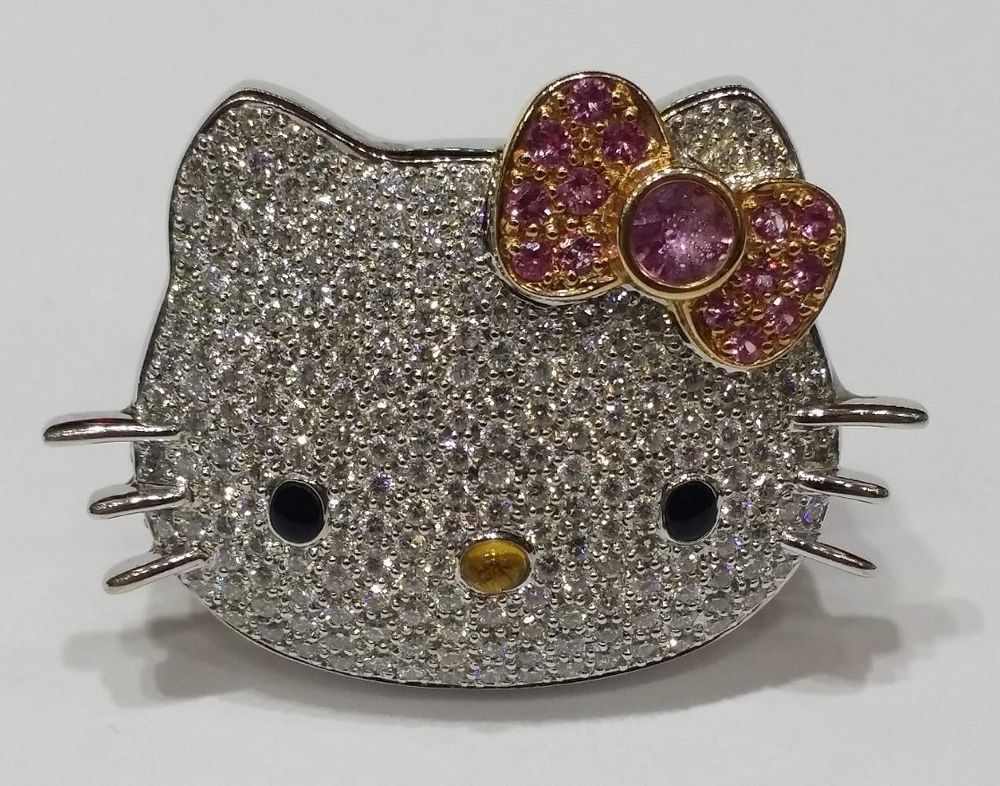 Hello Kitty 18kt WG 2 0 Ct Diamond Ruby Kimora Lee Simmons Sanrio Ring | eBay