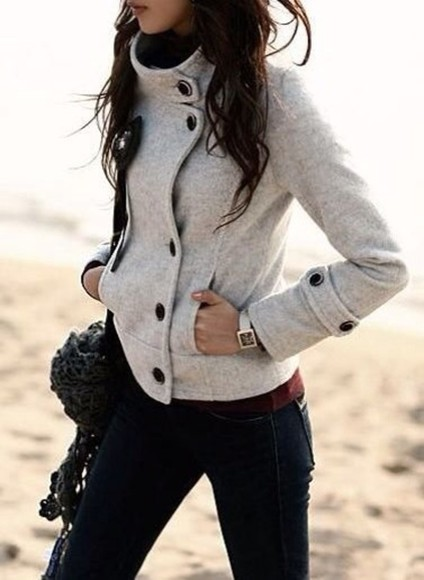 jacket cute buttons grey winter fall warm