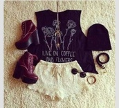 blouse,hipster,floral,coffee,grunge,soft grunge,vans,pastel grunge,spring,summer,red,black,shoes,shorts,shirt,heels beanie sunglasses bracelets,lace shorts,necklace,t-shirt,white shorts,tank top,young thug,tuesday's,top