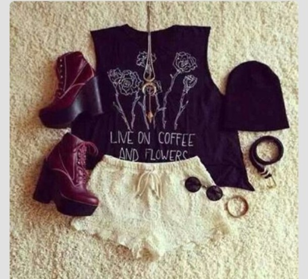 blouse hipster floral coffee grunge soft grunge vans pastel grunge spring summer red black shoes shorts shirt heels beanie sunglasses bracelets lace shorts necklace t-shirt white shorts tank top young thug tuesday's top