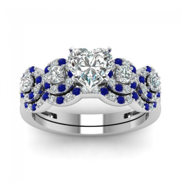 jewels heart stone ring evoleescom exquisite wedding ring set engagement ring with heart diamond - Blue Wedding Ring Set