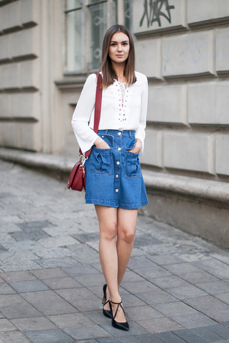 fashion agony blogger lace up top button up skirt denim skirt