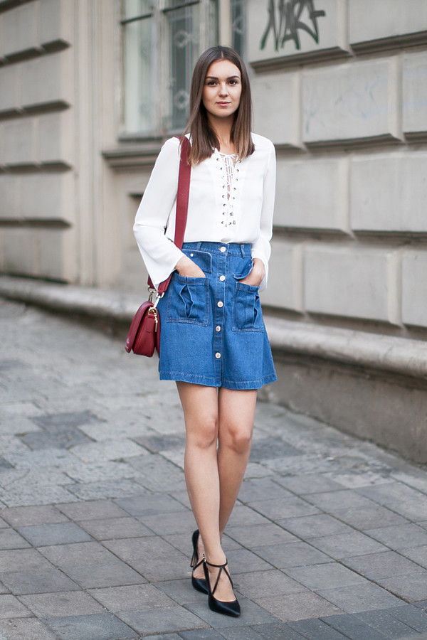 Top: fashion agony, blogger, lace up top, button up skirt, denim ...