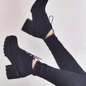 shoes black platform boots boots