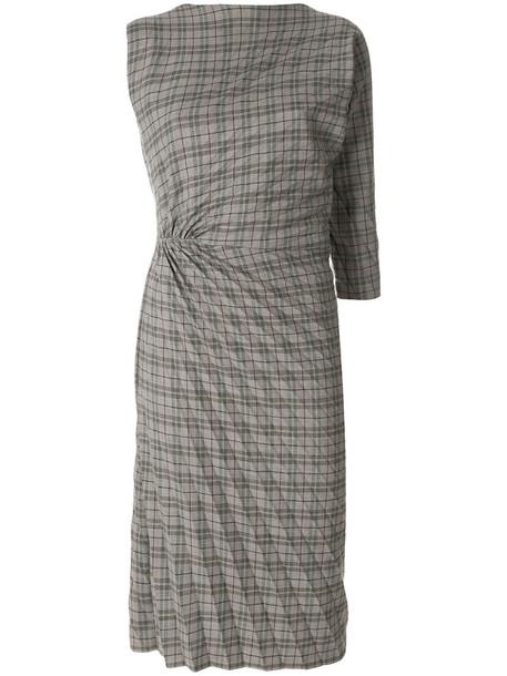 dress pleated women spandex wool brown