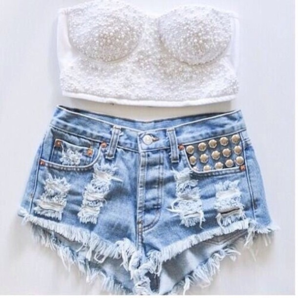 Tank top: shorts, white bandeau top, high waisted shorts, cut up ...