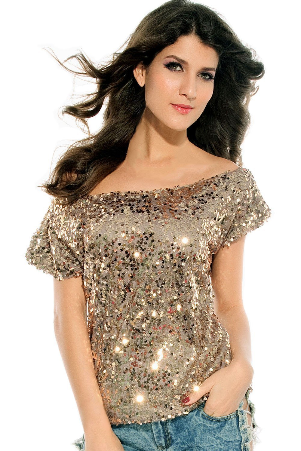 Shoulder glistening sequin top (gray) at amazon women's clothing store: