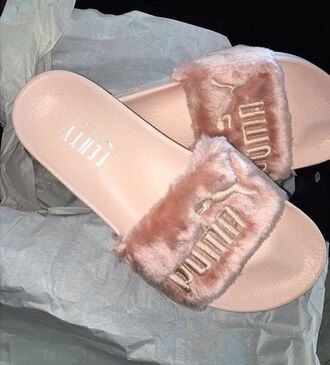 shoes puma fenty fluffy slides peach fuzz zendaya fenty x puma puma slippers pink fur sandals slide shoes tumblr shoes fur pink shoes fur slippers