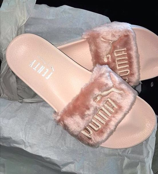 5036870eb246 shoes puma fenty fluffy slides peach fuzz zendaya fenty x puma puma slippers  pink fur sandals