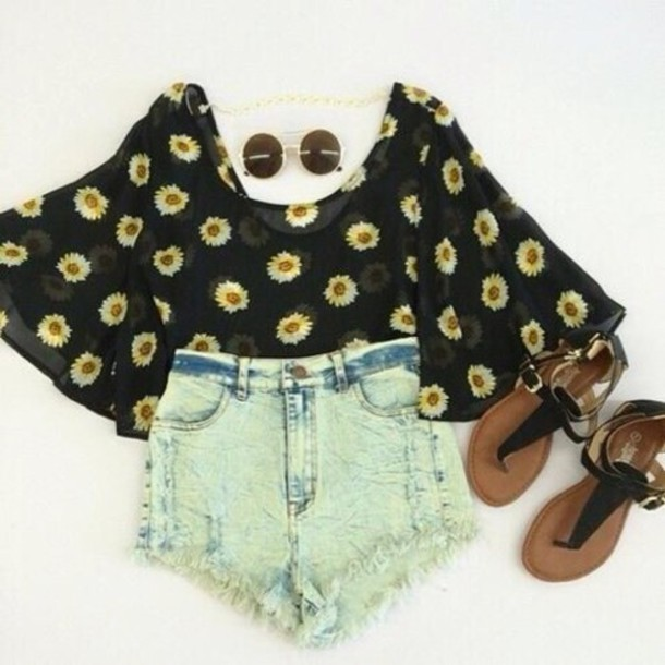 daisy daisy yellow high waisted blouse sheer flowers flowy loose hippie shirt shoes shorts sunglasses