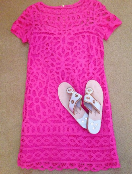 dress hot pink lace shift dress