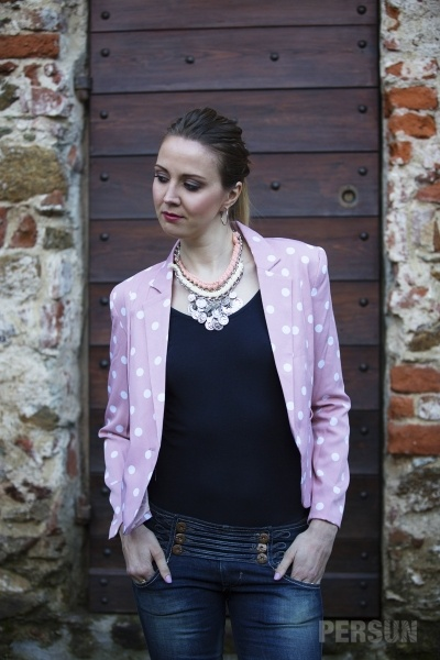 Polka Dots One Button Blazer [FFBI0179] - PersunMall.com