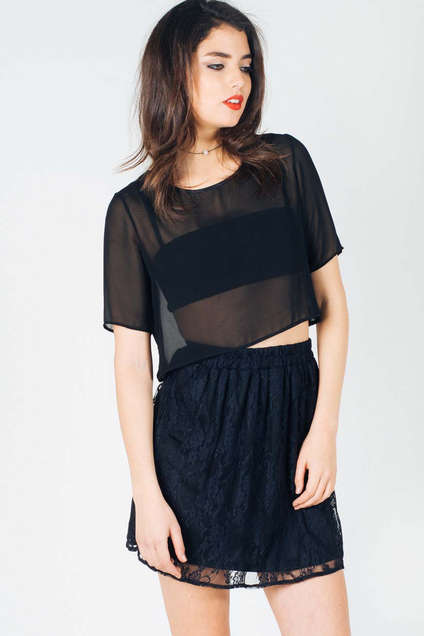 Class act black lace skater skirt