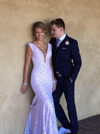 dress purple shiny prom