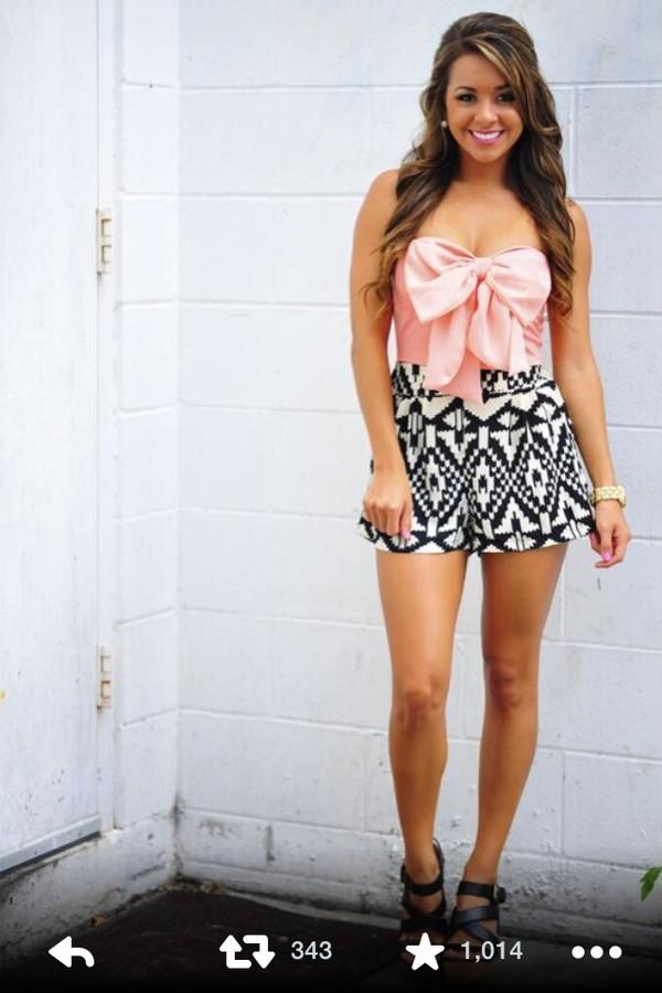 blouse cute pink blouse pink bow shorts skirt clothes silk aztec aztec print skirt aztec print shorts romper