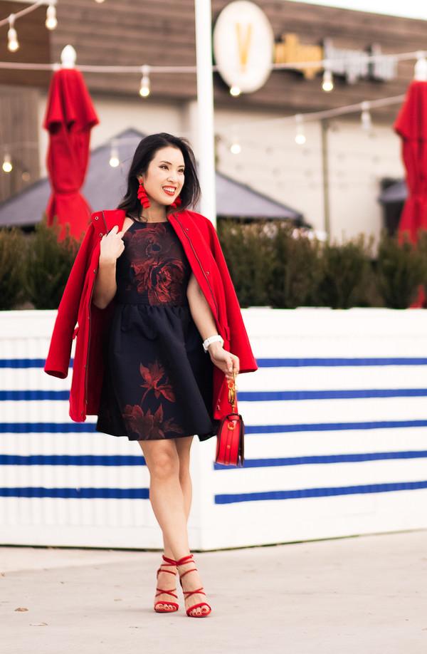 cute & little blogger underwear shoes bag jewels sandal heels red heels red coat red bag mini dress