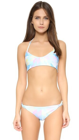 bikini bikini top weave white swimwear