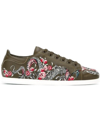 embroidered women tattoo sneakers leather cotton green shoes