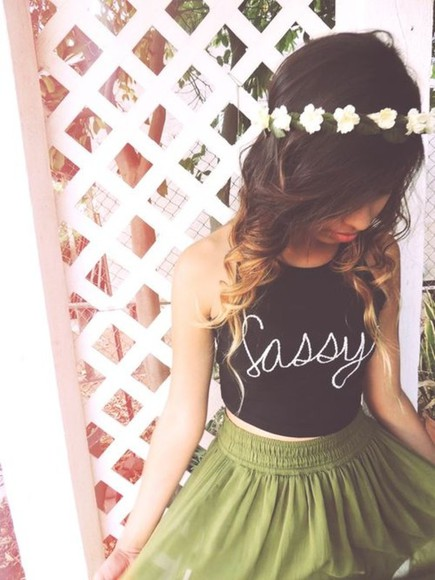 tank top black tank top skirt crop tops green skirt black shirt white writing sassy top sassy tank top sassy black tank graphic shirt graphic top letter top letter tank letter shirt skater skirt green skater skirt