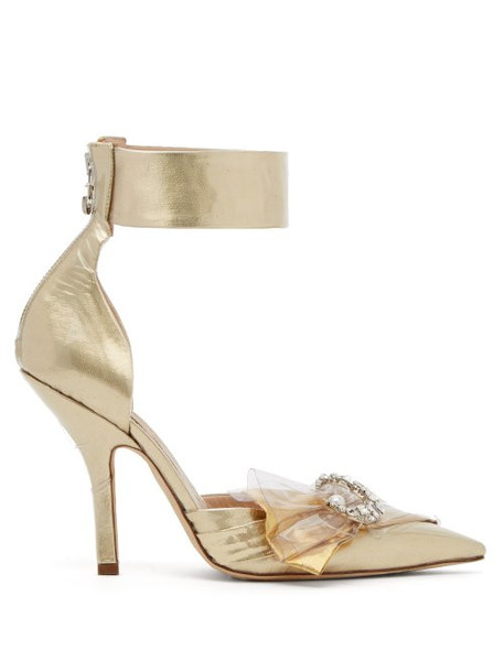 Midnight 00 - Crystal Embellished Ankle Tie Lamé Pumps - Womens - Gold